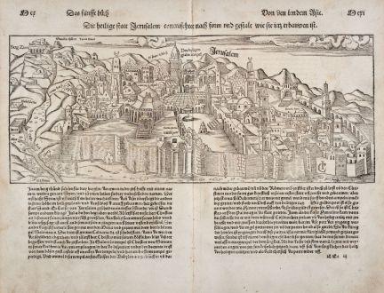 Antike Landkarten, Münster, Heiliges Land, Jerusalem, 1550: Die Heilige Statt Jerusalem...