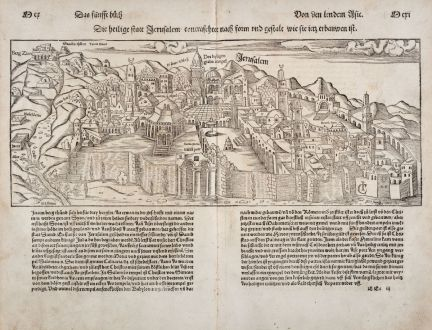 Antique Maps, Münster, Holy Land, Jerusalem, 1550: Die Heilige Statt Jerusalem...