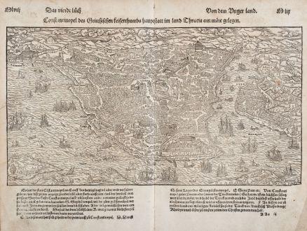 Antike Landkarten, Münster, Türkei, Konstantinopel, Istanbul, 1550: Constantinopel des Griechischen Keyserthumbs hauptstatt im land Thracia am Moere gelegen