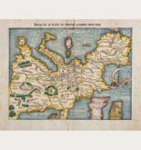 Kolorierte Holzschnitt-Landkarte des europäischen Kontinents. Gedruckt bei Heinrich Petri im Jahre 1550 in Basel.