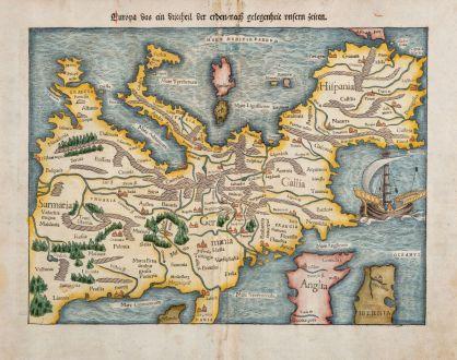 Antike Landkarten, Münster, Europa Kontinent, 1550: Europa das ein Drittheil der Erden, nach gelegenheit unsern zeiten.