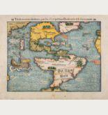 Kolorierte Holzschnitt-Landkarte von Amerika. Gedruckt bei Heinrich Petri im Jahre 1554 in Basel.