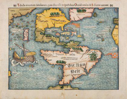 Antique Maps, Münster, America Continent, 1540 (1554): Tabula Novarum Insularum, quas Diversis Respectibus Occidentales & Indianas Vocant