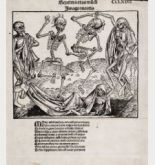 Dance of the Death (Danse Macabre) by Wilhelm Pleydenwurff from Schedel's world chronicle, printed in Nuremberg in 1493.