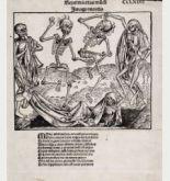 Totentanz von Wilhelm Pleydenwurff aus Schedels Weltchronik, gedruckt in Nürnberg im Jahre 1493.