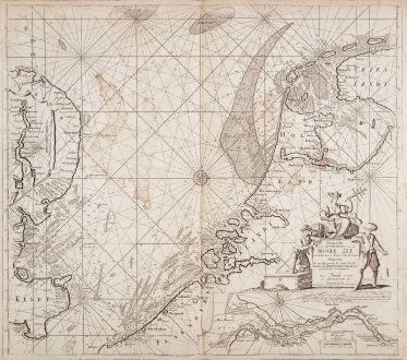 Antike Landkarten, Loots, Britische Inseln, Nordsee, 1700: Paskaart van het Zuyderdeel van de Noord Zee streckende van de Wester Eems tot aan de Hoofde... C.J. Vooght