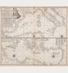 Nouvelle carte reduite de la Mediterranee - Nieuwe Wassende Graadege Pas-kaart van de Geheele Middelansche Zee... Claas de...