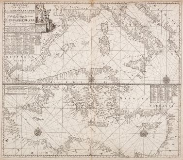 Antique Maps, Loots, Mediterranean, 1715: Nouvelle carte reduite de la Mediterranee - Nieuwe Wassende Graadege Pas-kaart van de Geheele Middelansche Zee... Claas de...