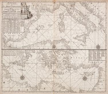 Antike Landkarten, Loots, Mittelmeer, 1715: Nouvelle carte reduite de la Mediterranee - Nieuwe Wassende Graadege Pas-kaart van de Geheele Middelansche Zee... Claas de...