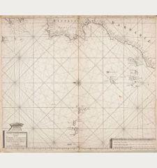 Nieuwe verbeterde Pascaart Beginnende van het Canaal en so Langs de kusten van Spanjen, en Barbarien, tot Cap Bajador...