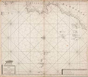 Antique Maps, Loots, Atlantic Ocean, 1700: Nieuwe verbeterde Pascaart Beginnende van het Canaal en so Langs de kusten van Spanjen, en Barbarien, tot Cap Bajador...