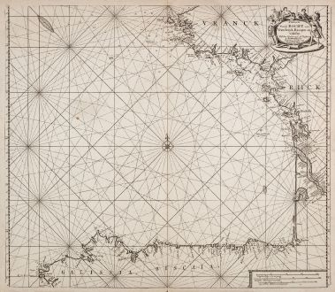 Antique Maps, Loots, Atlantic Ocean, Bay of Biscay, 1700: Paskaerte van de Bocht van Vranckrijck, Biscajen en Galissen.