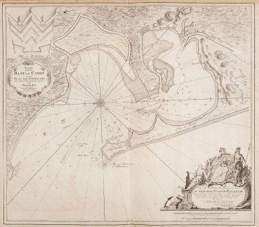 Antique Maps, van Keulen, Spain - Portugal, Andalusia, Cadiz, 1700: Kaart van de Baay van Cadix met de Plans der Fortificatien. Ten Dienst der Zeevaart opgesteld door William May, Luit. ter...