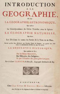 Antike Landkarten, Covens and Mortier, Weltkarte, 1730: Introduction a la Geographie