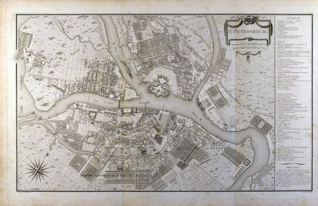 Antike Landkarten, Tardieu, Russland, St. Petersburg, 1783: St. Pétersbourg