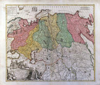 Antike Landkarten, Homann, Russland, 1716: Generalis Totius Imperii Russorum Novissim Tabula