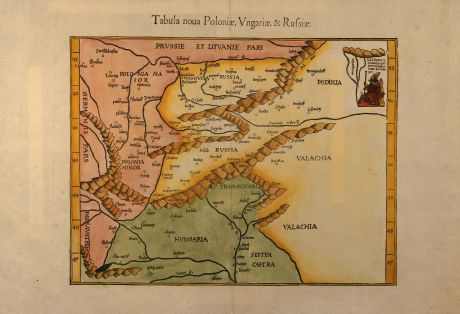 Antique Maps, Fries, Poland, Russia, Hungary, 1541: Tabula noua Poloniae, Vngariae, & Russiae