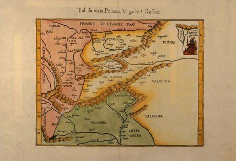 Antike Landkarten, Fries, Polen, Russland, Ungarn, 1541: Tabula noua Poloniae, Vngariae, & Russiae