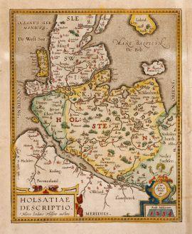 Antike Landkarten, Ortelius, Deutschland, Holstein, 1612: Holsatiae Descripto