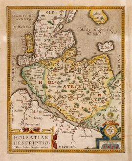 Antique Maps, Ortelius, Germany, Holstein, 1612: Holsatiae Descripto
