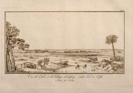 Antique Maps, Norden, Egypt, Arab Landscape, 1795: Vue de l'Isle et du village d'Eutffeg, entre Sol et Edfu