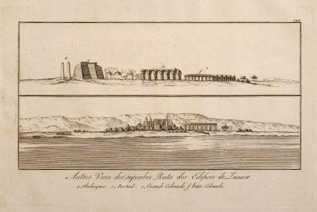 Antike Landkarten, Norden, Ägypten, Pyramiden, Ägypten, 1795: Autres Vue des superbes Restes des Edifces de Luxxor