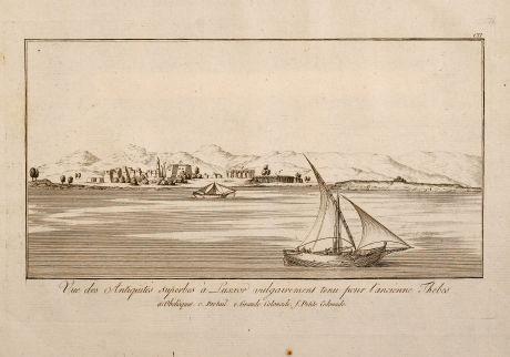 Antique Maps, Norden, Egypt, Nile River, Ships, 1795: Vue des Antiquities superbes à Luxxor vulgairement tenu pour l'ancienne Thebes