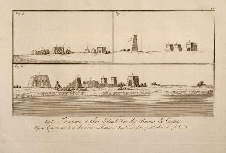 Antique Maps, Norden, Pyramids, Egypt, 1795: Troisieme et plus distincte Vue des Ruines de Carnac