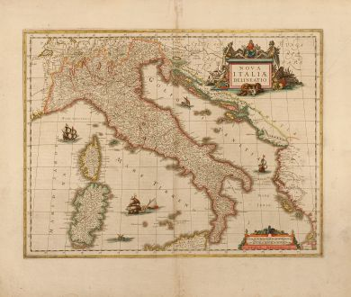 Antike Landkarten, Blaeu, Italien, Italia, 1635: Nova Italiae Delineatio