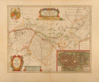 Antike Landkarten, Janssonius, Polen, Breslau, Wroclaw, Niederschlesien, 1640: Ducatus Breslanus sive Wratislaviensis