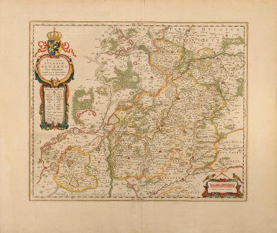 Antike Landkarten, Blaeu, Polen, Glogau, Glogow, Niederschlesien, 1640: Ducatus Silesiae Glogani Vera Delineatione