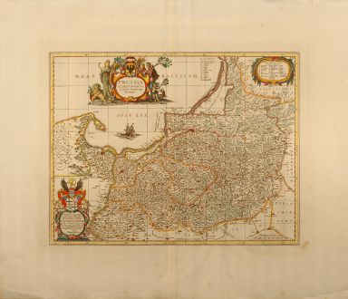 Antique Maps, Pitt, Poland, Prussia, 1680: Prussia accurate descripta