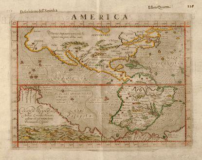 Antike Landkarten, Ruscelli, Amerika Kontinent, 1598: America