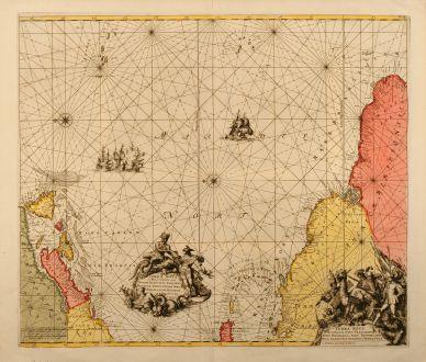 Antique Maps, Renard, Atlantic Ocean, Caribbean, Azores, 1715: Terra Neuf, en de Custen van Nieu Vranckryck, Nieu Engeland, Nieu Nederland, Nieu Andalusia, Guiana en Venezuela.