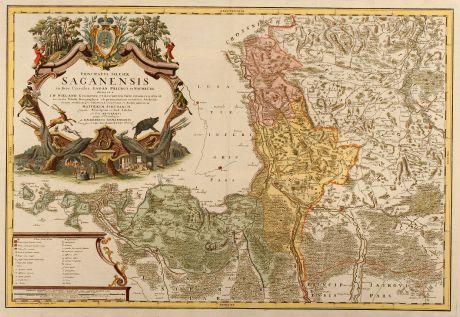 Antike Landkarten, Homann Erben, Polen, Sagan, Zagan, Lebus, 1750: Principatus Silesiae Saganensis