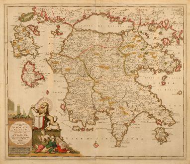 Antike Landkarten, Danckerts, Griechenland, Peloponnes, 1690: Peloponnesus Hodie Moreae Regnum Distincté Divisum in Omnes suas Provincias ... Cefalonia, Zante, Cergio et St. Maura.