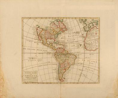 Antike Landkarten, Tirion, Amerika Kontinent, 1750: Nieuwe Kaart van America