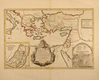 Antique Maps, Sanson, Holy Land, Mediterranean, Jerusalem, Palestine, 1700: Iesu Christi Salvatoris Nostir Et Apostolorum Petri, et Pauli Mansiones, Itinera, Peregrinationes, &c: per Galilaeam,...