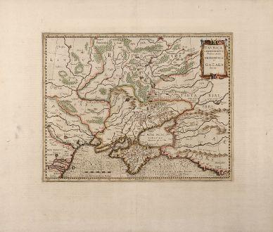 Antique Maps, Mercator, Russia, Ukraine, Crimean Peninsula, 1613: Tavrica Chersonesvs Nostra aetate Przecopsca et Gazara dicitur
