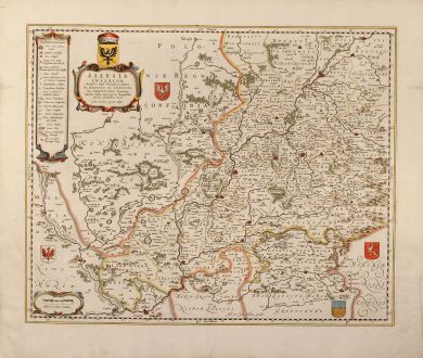 Antique Maps, Blaeu, Poland, Glogow, Lower Silesia, 1659: Silesia Inferior