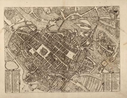 Antike Landkarten, Braun & Hogenberg, Polen, Breslau, Wroclaw, Niederschlesien: Wratislavia