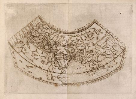 Antike Landkarten, Ruscelli, Ptolemäus Weltkarte, 1574: Ptolemaei Cognita