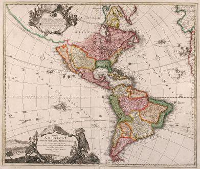 Antike Landkarten, Homann, Amerika Kontinent, Kalifornien Insel, 1710: Totius Americae Septentrionalis et Meridionalis Novisima Representatio