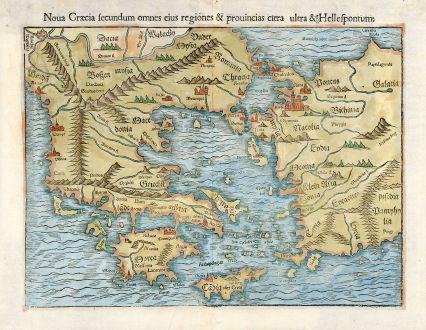Antique Maps, Münster, Greece, Turkey, 1550: Noua Graecia secundum omnes eius regiones & prouincias citra ultra & Hellespontum