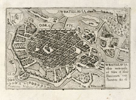 Antique Maps, Valegio, Poland, Wroclaw, 1600: Wratislavia silesie metropolis ad Odra et olaue Fluuiorum con fluentern sita est