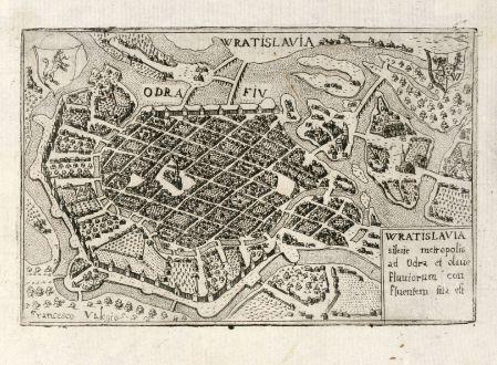 Antike Landkarten, Valegio, Polen, Breslau, Wroclaw, 1600: Wratislavia silesie metropolis ad Odra et olaue Fluuiorum con fluentern sita est