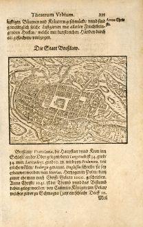 Antike Landkarten, Saur, Polen, Braslau, Wroclaw, 1580: Die Statt Breßlaw