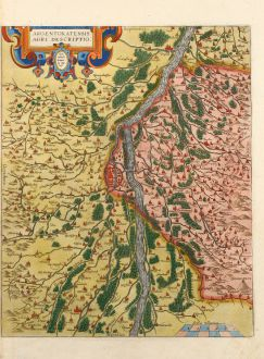 Antike Landkarten, Ortelius, Frankreich, Straßburg, 1590: Argentoratensis agri descriptio
