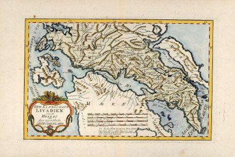 Antike Landkarten, von Reilly, Griechenland, 1789: Die Landschaft Livadien einst Hellas oder das eigentliche Griechenland