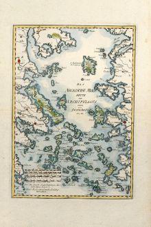 Antique Maps, Reilly, Greece, Aegean Sea, Aigaio Pelagos, 1789: Das Aegaeische Meer Heute der Archipelagus oder das Insel-Meer